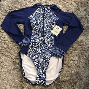 24th & Ocean Navy Mosaic Tile Paddle Swimsuit